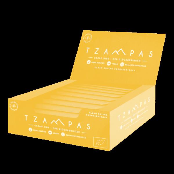 TZAMPAS Cacao Nibs Clean Eating Energieriegel Display