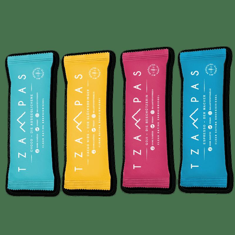 Tzampas vier vegane Riegel