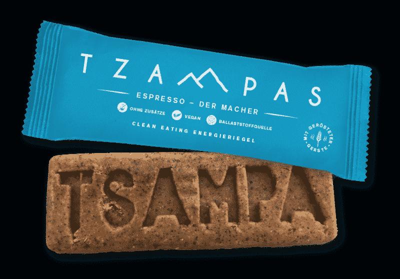 Espresso Riegel von Tzampas in der Verpackung und ausgepackt